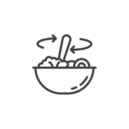 Stirring food in bowl line icon. Food preparation linear style sign for mobile concept and web design. Cooking instructions outline vector icon. Symbol, illustration. Vector graphics Illustration
