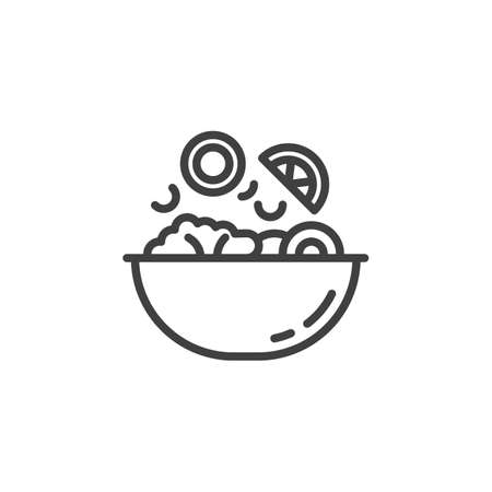 Vegetable salad cooking line icon. Food preparation linear style sign for mobile concept and web design. Falling vegetables into bowl outline vector icon. Symbol, illustration. Vector graphics