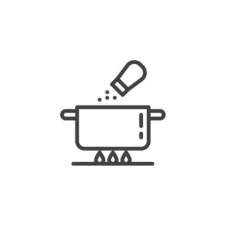 Salt soup pan line icon. Saucepan on the fire and salt shaker linear style sign for mobile concept and web design. Cooking instructions outline vector icon. Symbol, illustration. Vector graphics