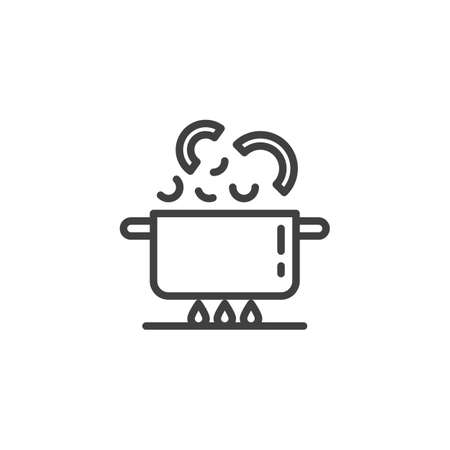Boiling pan on fire line icon. Cooking instructions linear style sign for mobile concept and web design. Saucepan on gas stove outline vector icon. Symbol, illustration. Vector graphics
