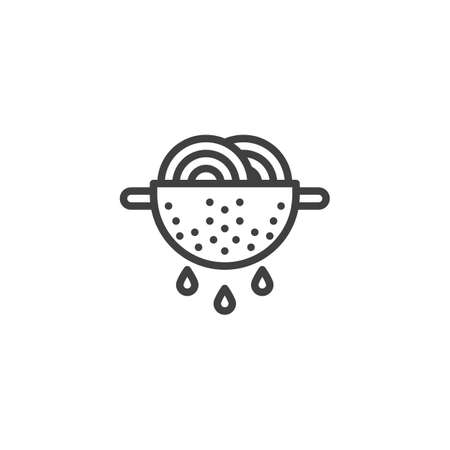 Cooking pasta line icon. Noodles in strainer linear style sign for mobile concept and web design. Spaghetti in colander outline vector icon. Symbol, illustration. Vector graphics Ilustração