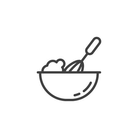 Cooking process line icon. Beating with hand mixer linear style sign for mobile concept and web design. Whisk mixing dough outline vector icon. Symbol, illustration. Vector graphics Ilustração
