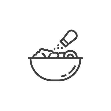 Salt food in a bowl line icon. Food preparation process linear style sign for mobile concept and web design. Cooking instructions outline vector icon. Symbol, illustration. Vector graphics