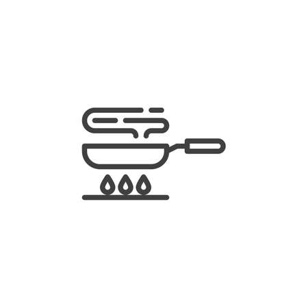Frying pan on gas stove line icon. Cooking process linear style sign for mobile concept and web design. Frying on fire outline vector icon. Symbol, illustration. Vector graphics Ilustração