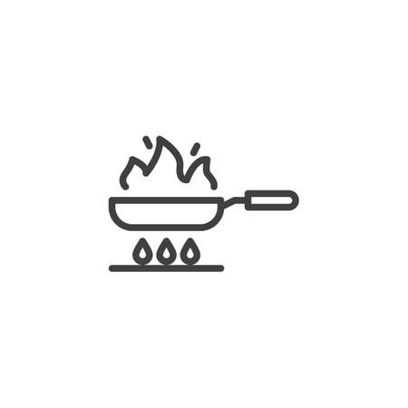 Frying on fire line icon. Frying pan on gas stove linear style sign for mobile concept and web design. Cooking process outline vector icon. Symbol, illustration. Vector graphics