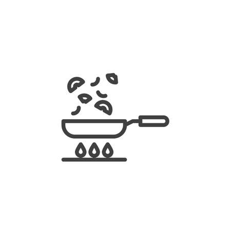 Frying vegetables on pan line icon. Cooking process linear style sign for mobile concept and web design. Frying pan on gas stove outline vector icon. Symbol, illustration. Vector graphics Ilustração