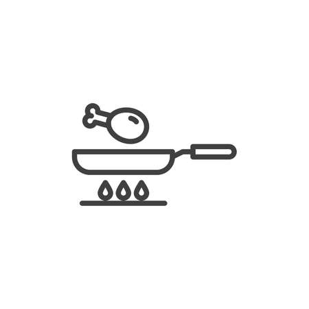 Frying chicken leg on gas stove line icon. linear style sign for mobile concept and web design. Cooking chicken drumstick outline vector icon. Symbol, illustration. Vector graphics