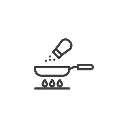 Frying pan and salt line icon. Food preparation process linear style sign for mobile concept and web design. Cooking on gas stove outline vector icon. Symbol, illustration. Vector graphics