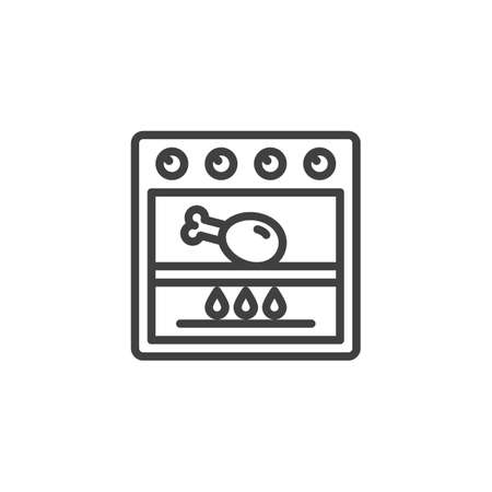 Frying chicken in grill stove line icon. Cooking process linear style sign for mobile concept and web design. Chicken leg in gas oven outline vector icon. Symbol, illustration. Vector graphics