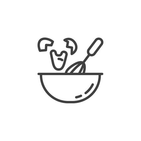 Whisking egg line icon. Cooking instructions linear style sign for mobile concept and web design. Beating eggs outline vector icon. Symbol, illustration. Vector graphics