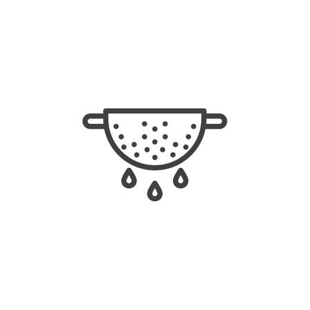 Colander line icon. Cooking instructions linear style sign for mobile concept and web design. Strainer outline vector icon. Symbol, illustration. Vector graphics