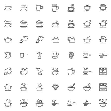 Cooking instructions line icons set. linear style symbols collection, outline signs pack. vector graphics. Set includes icons as food preparation process, frying and boiling, tea brewing time, kitchen