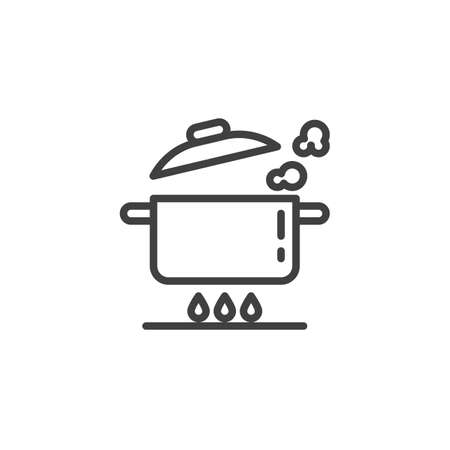 Boiling pan on gas stove line icon. Saucepan on fire linear style sign for mobile concept and web design. Cooking instructions outline vector icon. Symbol, illustration. Vector graphics