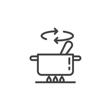 Cooking instructions line icon. Saucepan on stove linear style sign for mobile concept and web design. Stirring food in pan outline vector icon. Symbol, illustration. Vector graphics Ilustração