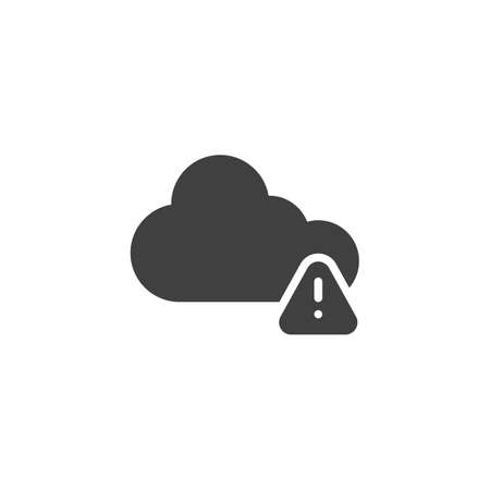 Cloud Alert notification vector icon. filled flat sign for mobile concept and web design. Cloud storage warning notice glyph icon. Symbol, illustration. Vector graphics