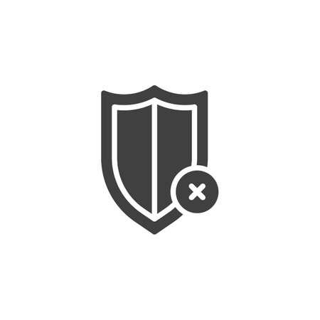 Reject protection notice vector icon. filled flat sign for mobile concept and web design. Decline shield notification glyph icon Ilustração