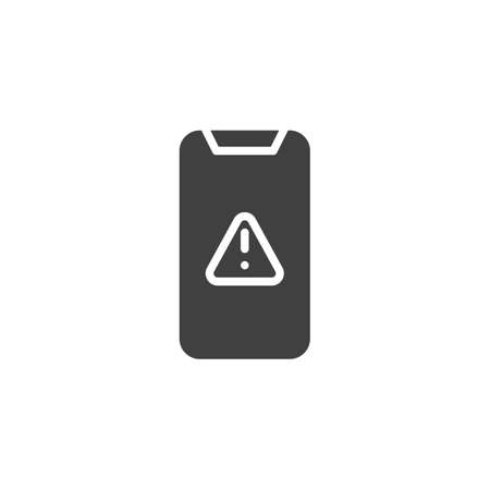 Mobile phone warning alert, attention vector icon. filled flat sign for mobile concept and web design. Smartphone with exclamation point glyph icon Illustration