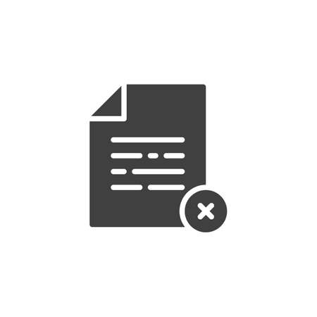 Document file delete vector icon. filled flat sign for mobile concept and web design. Reject paper document glyph icon