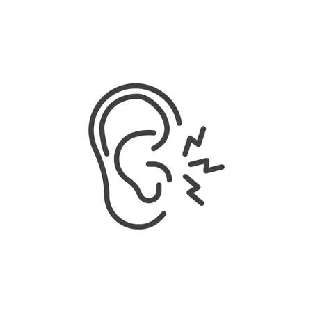 Ear pain line icon. linear style sign for mobile concept and web design. Earache outline vector icon