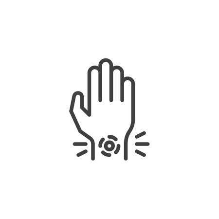 Wrist pain line icon. linear style sign for mobile concept and web design. Hand ache outline vector icon. Symbol, logo illustration. Vector graphics