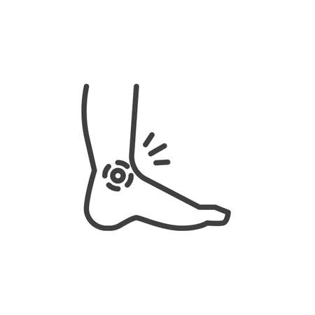 Ankle pain line icon. linear style sign for mobile concept and web design. Leg, foot pain outline vector icon. Symbol, logo illustration. Vector graphics