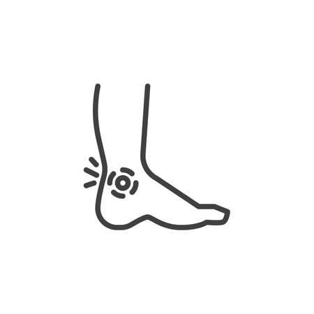 Leg ankle pain line icon. linear style sign for mobile concept and web design. Foot pain outline vector icon. Symbol, logo illustration. Vector graphics