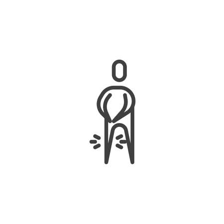 Human knee pain line icon. linear style sign for mobile concept and web design. Man with knee ache outline vector icon. Symbol, logo illustration. Vector graphics