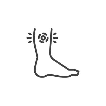Ikona linii bólu ludzkiej nogi. liniowy znak stylu dla koncepcji mobilnej i projektowania stron internetowych. Uraz nogi zarys wektor ikona. Symbol, ilustracja logo. Grafika wektorowa