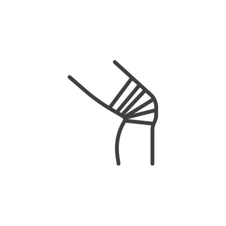Bandaged knee line icon. linear style sign for mobile concept and web design. Knee injury outline vector icon. Symbol, logo illustration. Vector graphics Иллюстрация