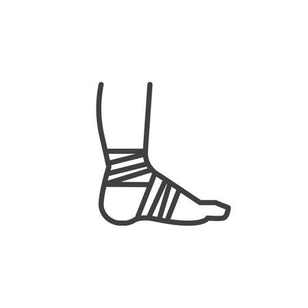 Bandaged foot line icon. linear style sign for mobile concept and web design. Foot injury outline vector icon. Symbol, logo illustration. Vector graphics Иллюстрация