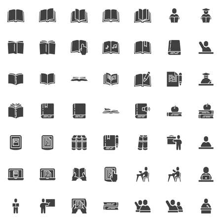 Books and education vector icons set, modern solid symbol collection filled style pictogram pack. Signs logo illustration. Set includes icons as pupil, student, teacher, ebook reader device, knowledge