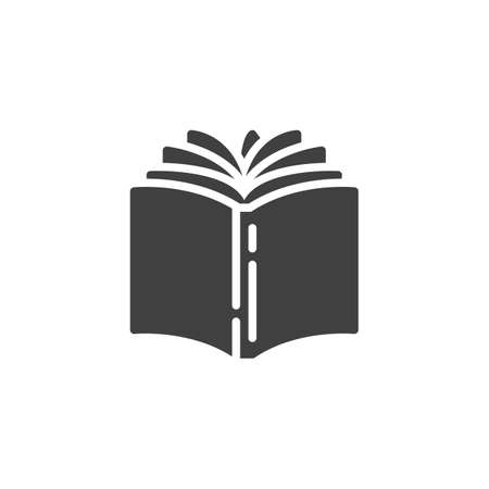 Open book vector icon. filled flat sign for mobile concept and web design. Book pages turn glyph icon. Bookstore symbol, logo illustration. Vector graphics Stock Illustratie