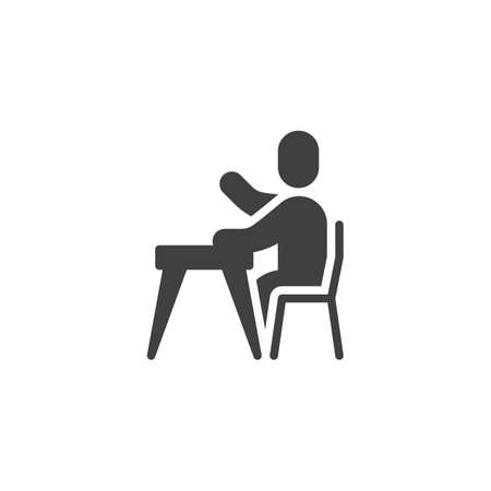 Pupil with raised hand vector icon. filled flat sign for mobile concept and web design. Student sitting at the desk glyph icon. Symbol, logo illustration. Vector graphics