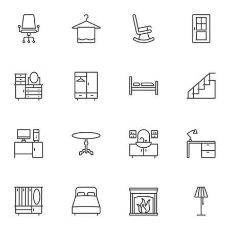 Furniture line icons set. linear style symbols collection, outline signs pack. vector graphics. Set includes icons as bed, table, fireplace, desk, lamp, chair, door, chest of drawers, cupboard, bath