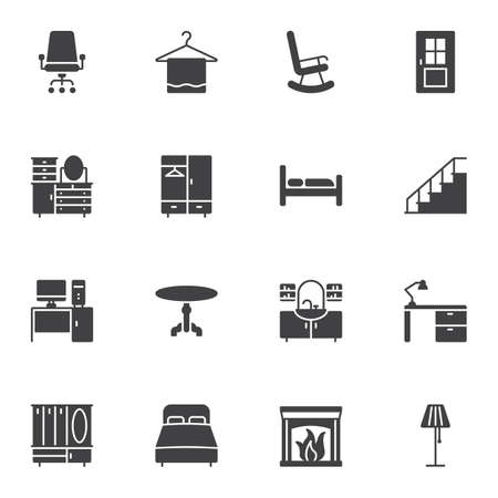 Furniture vector icons set, modern solid symbol collection filled style pictogram pack. Signs, logo illustration. Set includes icons as bed, table, fireplace, desk, lamp, chair, door, chest of drawers