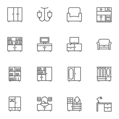 Interior furniture line icons set. linear style symbols collection, outline signs pack. vector graphics. Set includes icons as wardrobe, chandelier, armchair, kitchen, library, television, sofa, desk