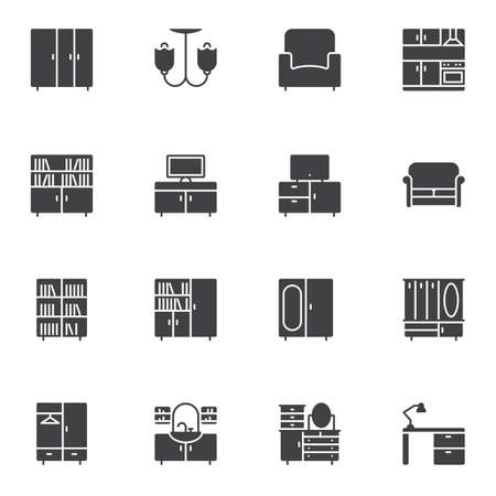 Interior furniture vector icons set, Symbol collection, filled style pictogram pack. Signs, logo illustration. Set includes icons as wardrobe, chandelier, armchair, kitchen, library, television, sofa Illustration