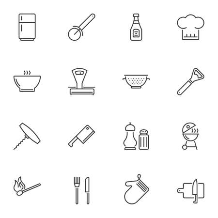 Kitchen utensils line icons set. linear style symbols collection, outline signs pack. vector graphics. Set includes icons as cook hat, fork and knife cutlery, cutting board, fridge, grill, scales Ilustração