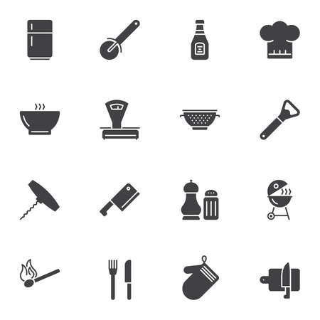 Kitchen utensils vector icons set, modern solid symbol collection, filled style pictogram pack. Signs, logo illustration. Set includes icons as cook hat, fork and knife cutlery, fridge, grill, scales