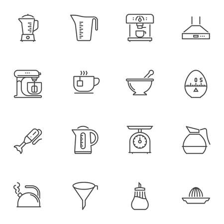 Kitchen utensils line icons set. linear style symbols collection outline signs pack. vector graphics. Set includes icons as measuring cup, electric kettle, hand blender, coffee machine, food processor
