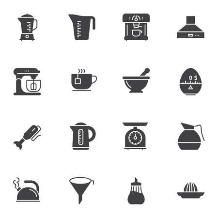 Kitchen utensils vector icons set, modern solid symbol collection, filled style pictogram pack. Signs, logo illustration. Set includes icons as measuring cup, kettle, coffee machine, food processor