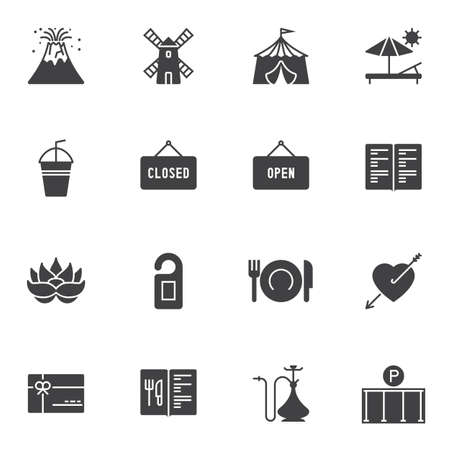 Miscellaneous vector icons set, modern solid symbol collection, filled style pictogram pack. Signs, logo illustration. Set includes icons as open and closed, menu book, gift card, hotel door hanger Иллюстрация