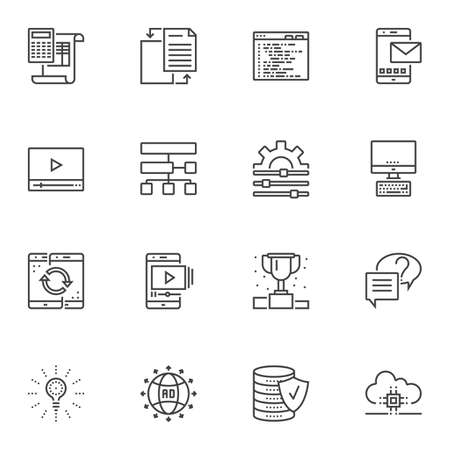 Computer programming line icons set. linear style symbols collection, outline signs pack. vector graphics. Set includes icons as settings gear, coding, file transfer, data server, cloud computing, cpu 写真素材 - 129412702