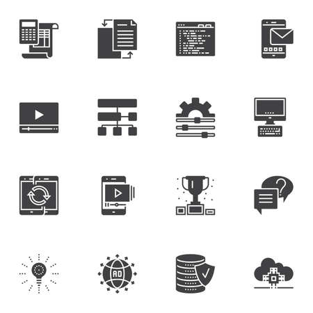Computer programming vector icons set, modern solid symbol collection, filled style pictogram pack. Signs, logo illustration. Set includes icons as settings gear, coding, file transfer, data server 写真素材 - 129412699