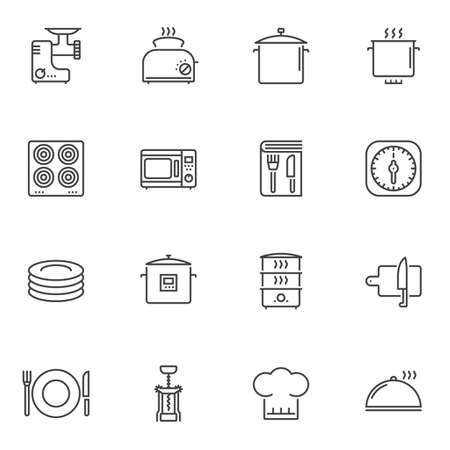 Kitchenware line icons set. linear style symbols collection, outline signs pack. vector graphics. Set includes icons as kitchen utensils, meat grinder, toaster, electric stove, microwave, recipe book