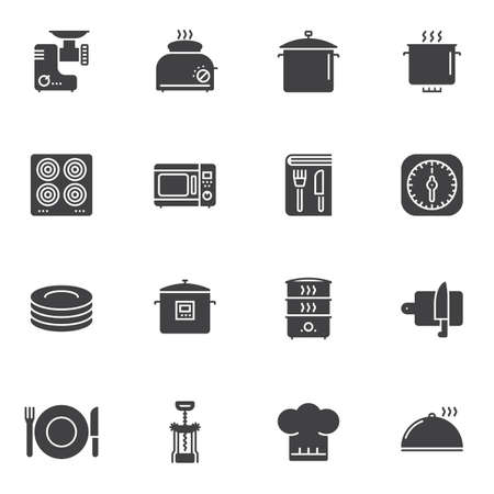 Kitchenware vector icons set, modern solid symbol collection, filled style pictogram pack. Signs, logo illustration. Set includes icons as kitchen utensils, grinder, toaster, electric stove, microwave