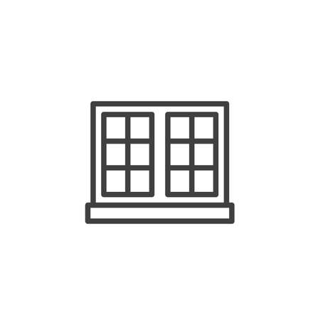 Double window and windowsill line icon. linear style sign for mobile concept and web design. Window frame outline vector icon. Symbol, logo illustration. Vector graphics