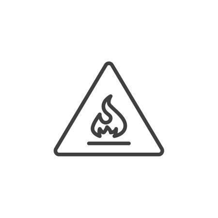 Flammable sign line icon. linear style sign for mobile concept and web design. Warning flammable outline vector icon. Symbol, logo illustration. Vector graphics Ilustração