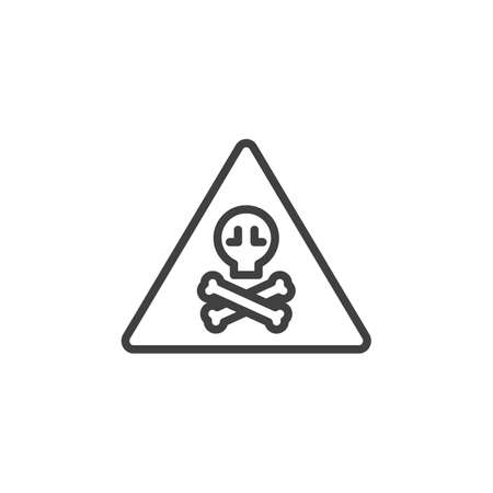 Warning toxic hazard sign line icon. linear style sign for mobile concept and web design. Alert signal triangle with skull outline vector icon. Symbol, logo illustration. Vector graphics