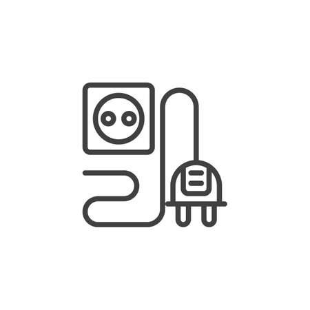Plug and socket line icon. linear style sign for mobile concept and web design. Electric Plug and Power Outlet outline vector icon. Symbol, logo illustration. Vector graphics